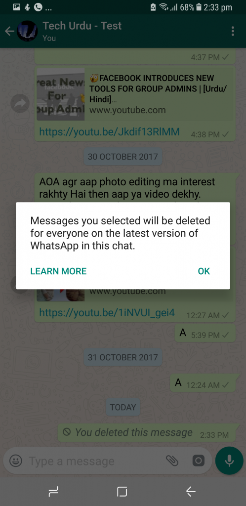 how to delete a whatsapp msg even after 7 minutes