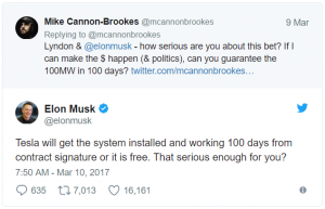 Tesla Builds the World largest battery in australia twitter bet