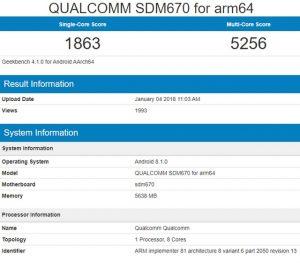 Qualcomm Snapdragon 670 geekbench