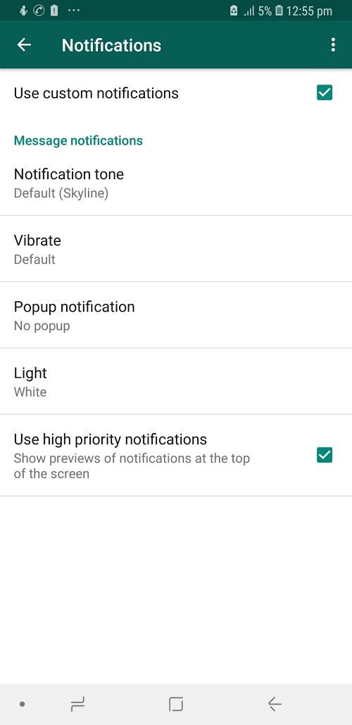 WhatsApp High Priority Notifications