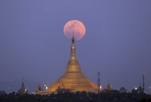 On the rise, the moon is photographed moving behind the Uppatasanti Pagoda, in Naypyitaw, Myanmar Photograph: Aung Shine Oo/AP Tech Urdu