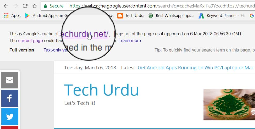 Google Search by Cached Website or Articles - Tech Urdu