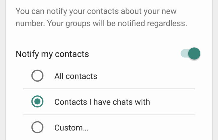 WhatsApp Change Number Feature