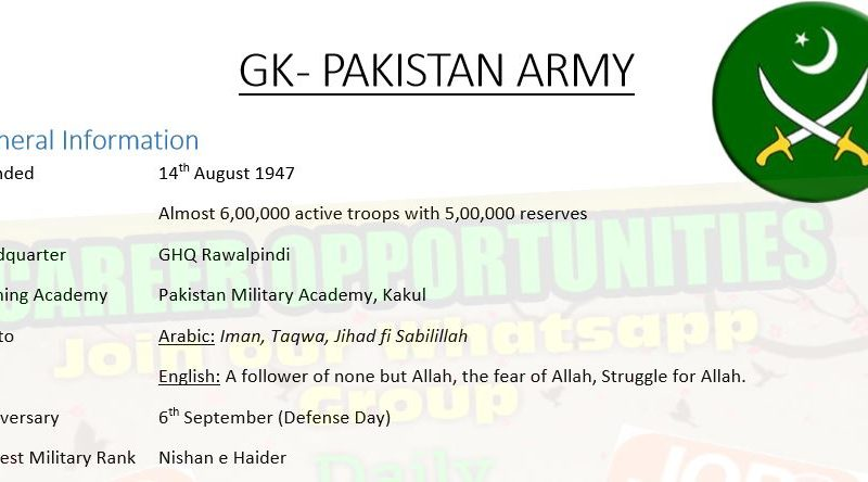 General Knowledge - Pakistan Army