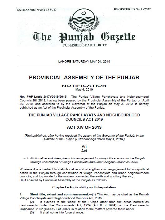 Notification | The Punjab Village Panchayats and Neighbourhood Councils Act 2019 | The Provincial Assembly of the Punjab | April 30, 2019