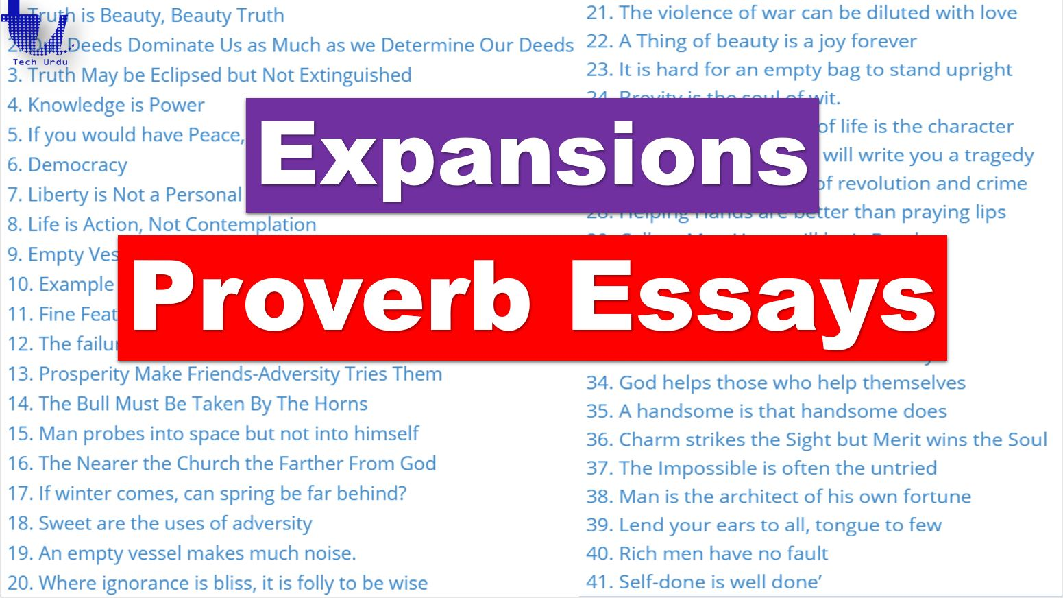 Proverb Expansions | Proverb Essays