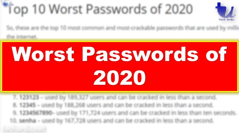Top 10 Worst Passwords of 2020 which can be Cracked in less than a Second - techurdu.net